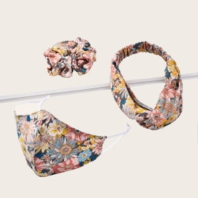 3-pcs Floral Elasticized Hairbands Cotton Adult Reuseable Face Mask washable Anti Dust Mask Cloth (Not Include Filters)