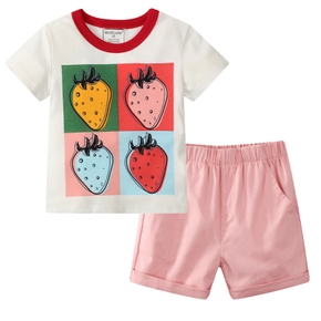Fashionable Kid Girl 2-piece Short-sleeve Strawberry Print Shorts Suits