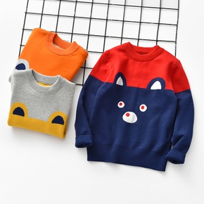 Baby / Toddler Bear Print Color contrast Long-sleeve Sweater