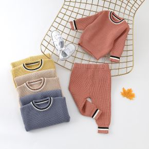 100% Cotton 2pcs Solid Stripe Decor Knitted Long-sleeve Baby Set
