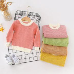 Baby / Toddler Causal Splice Solid Long-sleeve Sweater
