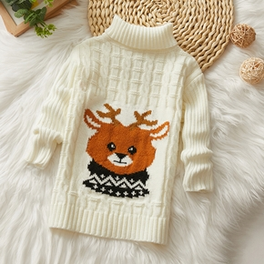 Toddler Boy Deer Embroidery Turtleneck Cable Knit Sweater
