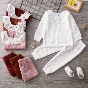 2-piece Toddler Girl Schiffy Flounce Cable Knit Sweater and Pants Set