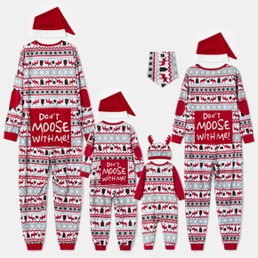 Mosaic DON'T MOOSE WITH ME Family Matching Christmas Pajamas Onesies+Hat(Flame resistant)