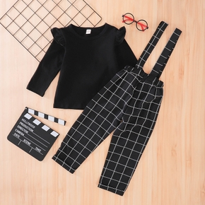 2-piece Baby / Toddler Girl Solid Ruffled Top and Plaid Strap Pants Set
