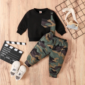2pcs Baby Boy Street style Camouflage Baby's Sets Long-sleeve Infant Toddler Outfit