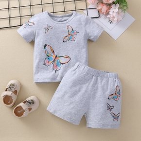 2pcs Baby Girl Sweet Animal Butterfly Short-sleeve Cotton Baby's Sets