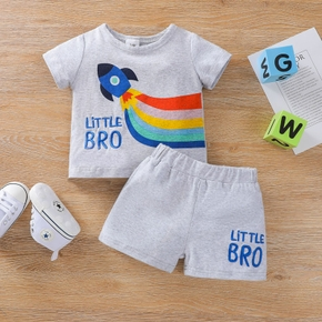 2pcs Baby Boy Rainbow Rocket Short-sleeve Cute Top Shorts Baby Sets