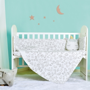 Baby Cartoon Sheets Bed Guard And Soft Sleeping Blanket Wrap Bed Set Newborn Baby Bedding Stuff