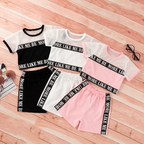 2pcs Baby Girl Short-sleeve Letter Print Cotton Baby's Sets