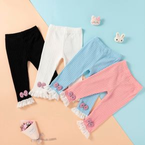 1pc Baby Girl Solid Lace Bowknot Cotton Pants Leggings