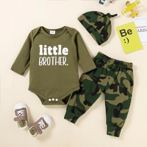 Baby Boy 3pcs Army Green Letter and Camouflage Print Long Sleeve Set