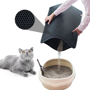 Cat litter mat pet mat double layer EVA cat leak-proof and cat litter rubbing foot mat hollow cleaning
