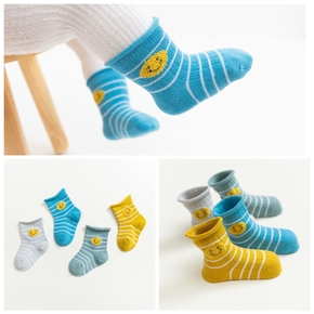 4-pack Baby / Toddler Striped Smile Middle Socks