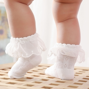 Baby / Toddler Solid Lace Flounced Breathable Socks