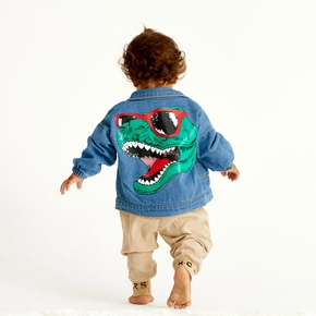 Baby / Toddler Trendy Dinosaur Print Denim Jacket
