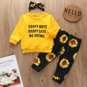 3pcs Sunflower and Letter Print Long-sleeve Baby Set