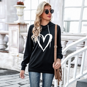 Hooded Heart-shaped Litooffset print long sleeve normal Hooded