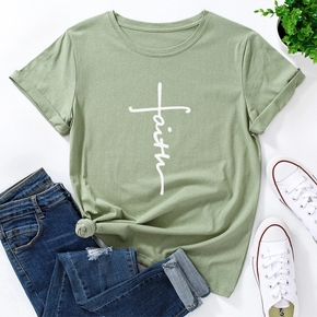 Round collar Hand painted  Litooffset print Short Sleeve casual T-shirt