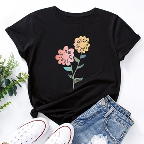 casual Floral Print Round collar Short Sleeve T-shirt