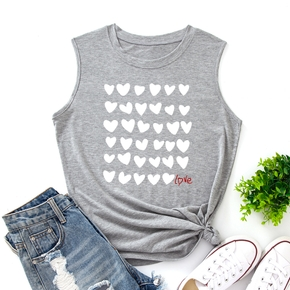 casual Heart-shaped Letter Print Round collar Tank Tops