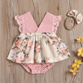 2-piece Baby Floral Print Lace Dress Romper with Headband Set