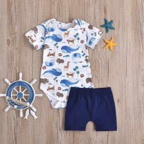 2pcs Baby Boy Cotton Animal Elephant Whale Short-sleeve Romper Solid Shorts Cute Baby Sets
