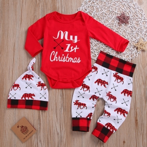 Baby 3pcs Christmas Letter and Animals Print Red Long-sleeve Set