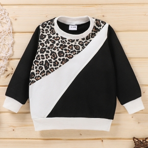 Baby / Toddler Leopard Print Splice Long-sleeve Pullover