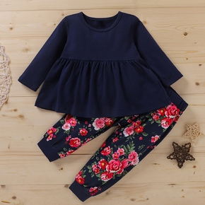 2-piece Baby / Toddler Solid Long-sleeve Top and Print Pants Set