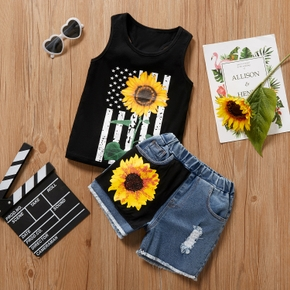 2-piece Toddler Boy Sunflower Print Tank and Denim Shorts Set