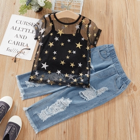 2-piece Baby / Toddler Stars Top and Denim Jeans Set