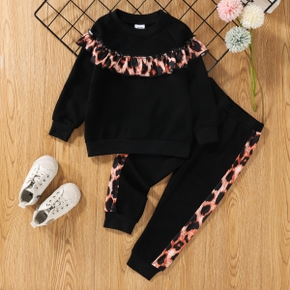 2-piece Toddler Girl Ruffled Leopard Print Pullover and Elasticized Pants Set