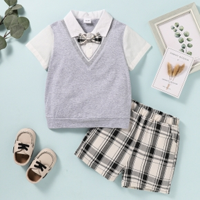 2-piece Toddler Boy Faux-two Lapel Collar Top with Bow tie and Plaid Shorts Suit Set