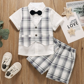 2-piece Toddler Boy Plaid Faux-two Short-sleeve Top with Bow Tie and Elasticized Shorts Party Suit Set