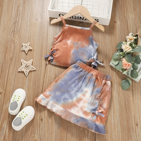 2-piece Toddler Girl Tie Dye Bowknot Tank Top and Skirt Set