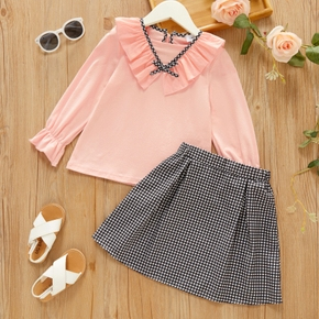 2-piece Toddler Girl Bowknot Ruffled Long-sleeve Pink Blouse and Plaid Skirt Set