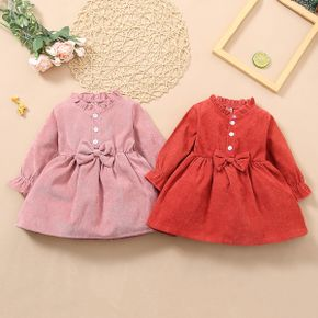 Solid Ruffle and Bow Decor Long-sleeve Baby Dress