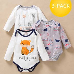 3-pack Baby Fox Long-sleeve Rompers