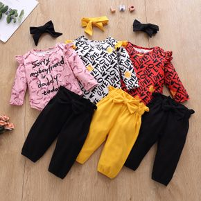3pcs Baby Girl Long-sleeve cotton  casual Letter Baby's Sets