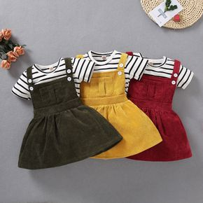 2pcs Baby Girl Short-sleeve Stripes casual Suit-dress