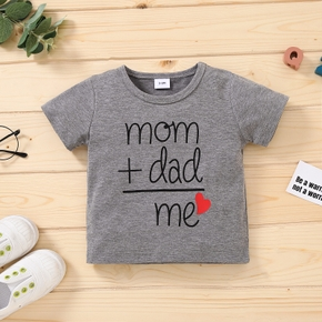 1pc Baby Girl Short-sleeve casual Letter Tee