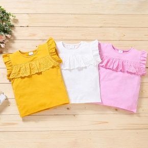 Baby Girl Sweet Tee Sleeveless Cotton Solid Baby Clothes