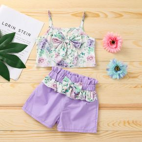 2pcs Solid and Floral Print Baby Set