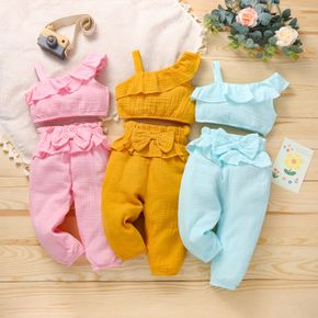 Crepe Solid Bowknot and Ruffle Decor One Shoulder Baby Set