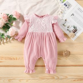 Corduroy Lace Splicing Solid Pink Long-sleeve Baby Jumpsuit