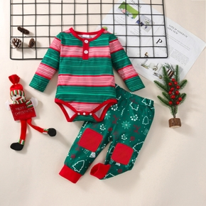 Baby 2pcs Christmas Red and Green Stripe Print Long-sleeve Romper Set