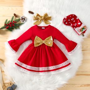 Baby 2pcs Pageant Party Lace Splice Long-sleeve Red Dress with Golden Bowknot Decor