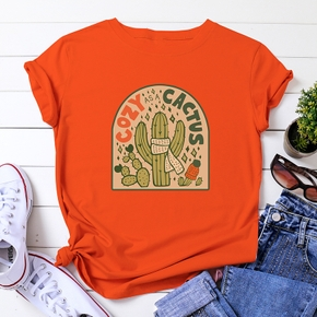 Casual Letter Cactus Print Round collar Short Sleeve T-shirt