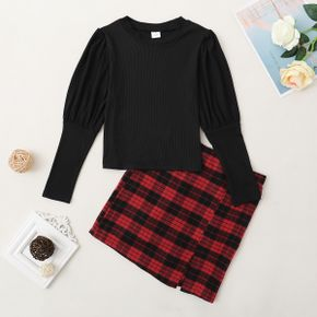 Kid Girl Solid Top & Plaid Skirt Set